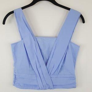 Zara Basic sky blue ruffled cotton crop top XS